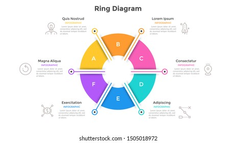 Ring-like pie chart divided into 6 colorful sectors. Concept of six options of company management. Simple infographic design template. Vector illustration for business information visualization.