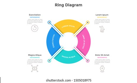 Ring-like pie chart divided into 4 colorful sectors. Concept of four options of company management. Simple infographic design template. Vector illustration for business information visualization.