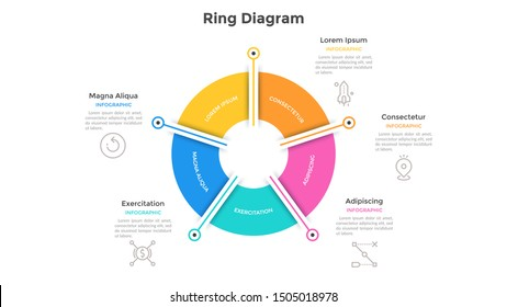 Ring-like pie chart divided into 5 colorful sectors. Concept of five options of company management. Simple infographic design template. Vector illustration for business information visualization.