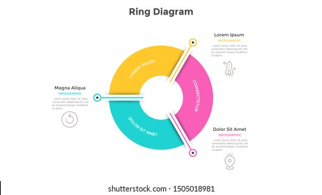 Ring-like pie chart divided into 3 colorful sectors. Concept of three options of company management. Simple infographic design template. Vector illustration for business information visualization.
