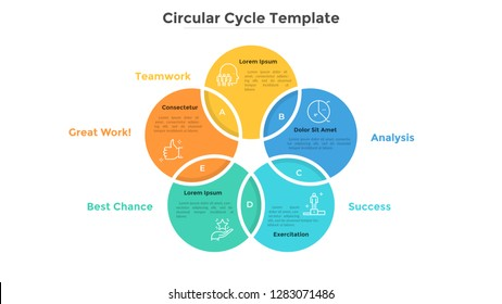 Ring-like Venn diagram with five intersected colorful circular elements. Modern infographic design template. Concept of 5-stepped cyclical business process. Flat vector illustration for presentation.