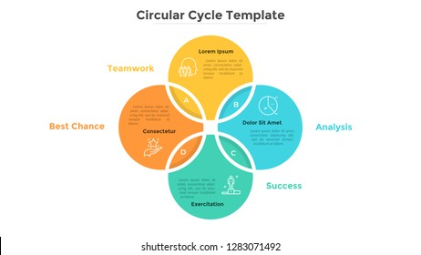 Ring-like Venn diagram with four intersected colorful circular elements. Modern infographic design template. Concept of 4-stepped cyclical business process. Flat vector illustration for presentation.
