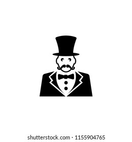 Ringmaster, Circus Ceremony Master with Hat. Flat Vector Icon illustration. Simple black symbol on white background. Ringmaster, Circus Ceremony Master sign design template for web mobile UI element