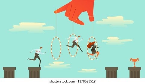 Ringmaster Circus Director, Big hand making his people jump through a hoop. Business concept manipulate behind the scene, Vector Illustration
