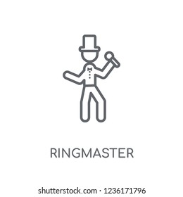 ringmaster linear icon. Modern outline ringmaster logo concept on white background from Circus collection. Suitable for use on web apps, mobile apps and print media.