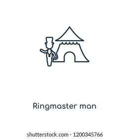Ringmaster man concept line icon. Linear Ringmaster man concept outline symbol design. This simple element illustration can be used for web and mobile UI/UX.