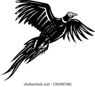 Ring-Necked Pheasant Flying Retro Black and White