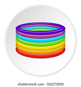 Rings in colours of LGBT icon. Cartoon illustration of rings in colours of LGBT vector icon for web