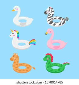Rings for swimming. Set of swimming rings. Inflatable rubber toy. Swimming circles with various textures and shapes. swan, unicorn, flamingo, zebra, giraffe and dinosaur.Vector image in cartoon style