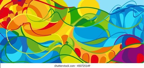 Rio. 2016 abstract colorful background. Rio de Janeiro 2016-2018 Brazil wallpaper. Summer Athletic Sport Game Brazil colorful pattern. Vector Art, Print, web design advertising Brazilian Carnival kids