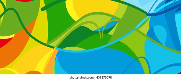 Rio. 2016 Brazil Games abstract colorful pattern. Summer of athletic games 2019 - Green, orange, yellow, blue. Paralympic. Disabled activity Sport Games. Brazilian Sport background Design advertising