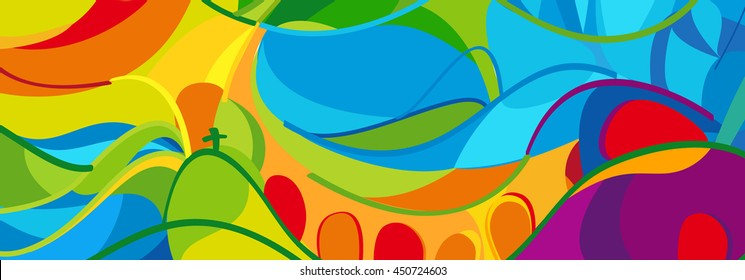 Rio. 2016-2018 abstract colorful background. Rio de Janeiro Brazil summer games wallpaper. Summer color Athletic competition. Sport Brazil. Pattern for design and advertising. Geometric shapes banner