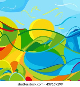 Rio. Brazil 2016 abstract landscape of summer colors green grass, orange mountains, yellow sun, blue sky. Dynamic Color shapes lines 2018 Summer Sport Brazil Carnival background Art, Print, web design