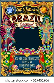 Rio Carnaval people festival poster illustration. Brazil night Show Carnival Party Parade masquerade invite background. Brasil latin dance samba dancer artist crazy event theme mask design vector