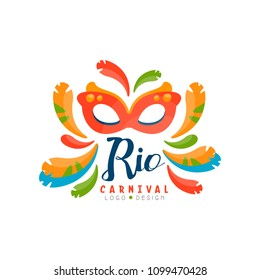 Rio Carnival logo design, bright festive party banner or poster with mask and feathers vector Illustration isolated on a white background.