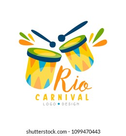 Rio Carnival logo design, bright festive party banner or poster with drums vector Illustration isolated on a white background.