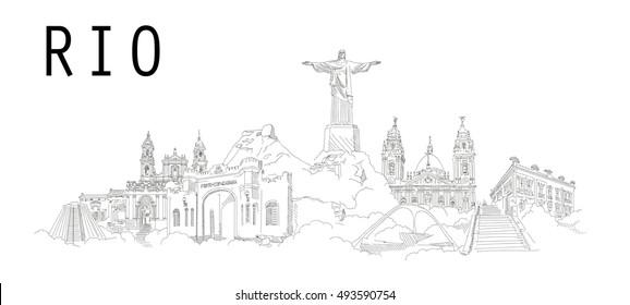 RIO-Stadt-Vektorgrafik-Handzeichnung