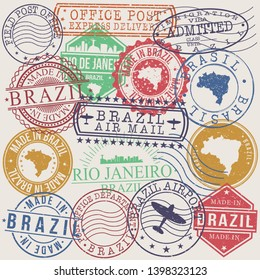 Rio De Janeiro Brazil Set of Stamps. Travel Stamp. Made In Product. Design Seals Old Style Insignia.