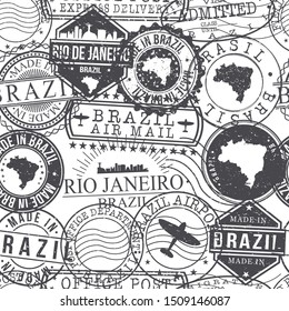 Rio de Janeiro Brazil Stamps. City Stamp Vector Art. Postal Passport Travel. Design Set Pattern.