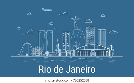 Rio de Janeiro city, Line Art Vector illustration with all famous buildings. Linear Banner with Showplace. Composition of Modern cityscape. Rio de Janeiro buildings set