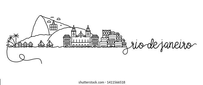 Rio de Janeiro City Skyline Doodle Sign