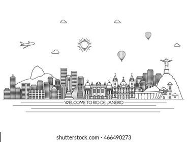 Rio de Janeiro detailed Skyline. Travel and tourism background.