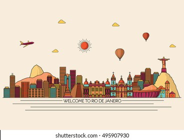 Rio de Janeiro detailed skyline. Travel and tourism background. Line art illustration.