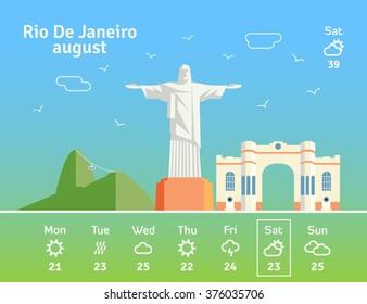 Rio De Janeiro skyline. Travel trip to Brazil. Vector illustration.