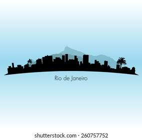Rio de Janeiro vector Skyline illustration with palm trees