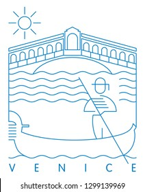 Riolta Bridge and Gondolier, Venice, Italy vector illustration and typography design