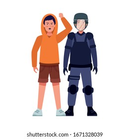 riot police with activist characters vector illustration design