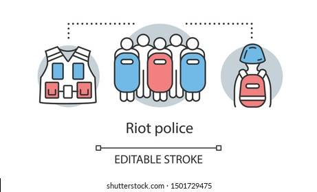 Riot police concept icon. Civil unrest control, rebellion suppression idea thin line illustration. People with shields, vest and protective equipment vector isolated outline drawing. Editable stroke