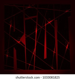 Riot. Poster of the rebellion. Black slashed letters on the dark red background. Logo with fiery edges textured by a sparkling dots. Aggressive urban sign for anarchists, insurgents, freedom fighters.