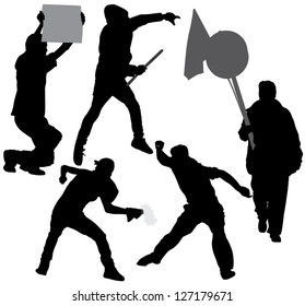 Rioter Silhouette on white background