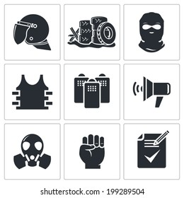 Riots in the street vector Icons set
