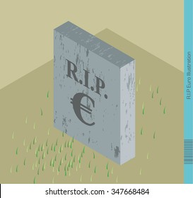 RIP Euro Currency Illustration