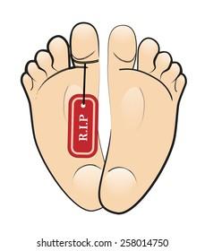 R.I.P foot design vector artwork