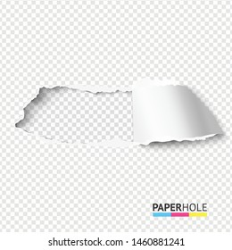 Rip paper hole on transparent background blank concept for sale promo. Vector illustration