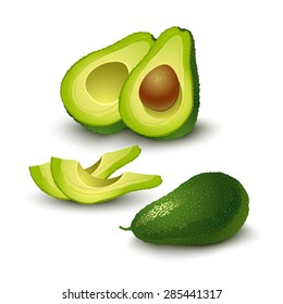 Ripe avocado isolated on white.