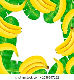Ripe Bananas and palm leaves frame. Central place for text. label template. Vector illustration with tropic motif. Concept idea for logo, tag, banner, advertising, prints, wrapping