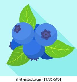 Ripe bilberry icon. Flat illustration of ripe bilberry vector icon for web design