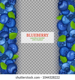 Ripe blueberry fruit vertical seamless borders. Vector illustration card Wide and narrow endless strip with blue berry for design of food packaging juice breakfast, cosmetics, tea, detox diet.