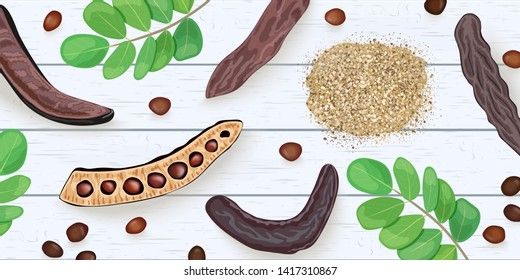 Ripe Carob branches, seeds, sweet pods, powder, leaves on on white wooden shabby desk. vector illustration. for decoration, bakery, organic healthy food, caffeine free, locust bean gum, . For textile