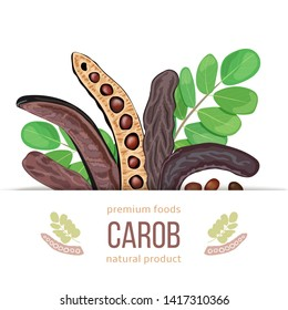 Ripe Carob label. branch with sweet pods, leaves on white background. vector illustration. for food decoration, bakery, organic healthy food, caffeine free, locust bean gum, gelling, textile, print