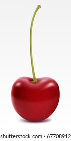 Ripe cherry isolated on white