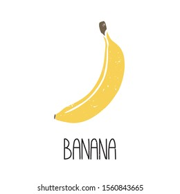 Ripe colored caption banana symbol isolated on transparent background. Colorful pictogram original design. Can be used for infographics, identity or decoration. Vector hand drawn illustration