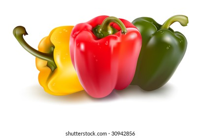 Ripe colored peppers. Vector illustration of peppers