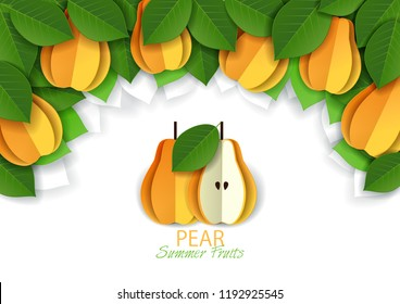 Ripe fresh yellow pear fruit background, frame. Vector paper art illustration. Packaging label design template.