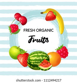 Ripe fruits and berries with grunge textured striped background