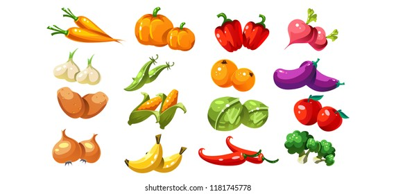 Ripe glossy coloful vegetables and fruits, game user interface element for video computer games vector Illustration